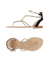 Lola Cruz - Metallic Toe Strap Sandals - Lyst