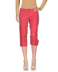 Elisabetta Franchi Red 3/4-length Trousers