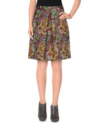 L'Autre Chose - Green Knee Length Skirt - Lyst