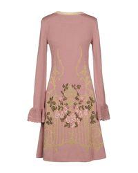 Alberta Ferretti - Pink Short Dress - Lyst