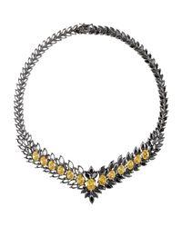 Iosselliani - Black Statement Zircon Gunmetal Necklace - Lyst