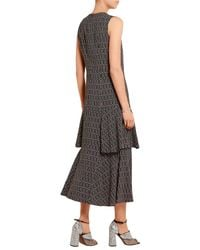 Marni - Green Printed Stretch-crepe Midi Dress - Lyst