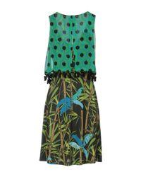 22 Maggio By Maria Grazia Severi - Green Short Dress - Lyst