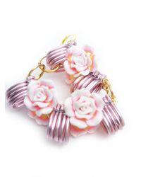 Longshaw Ward - Pink Rose Earrings - Lyst