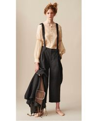 Renli Su - Gray Artisan Curved Leg Trousers With Detachable Suspenders - Lyst