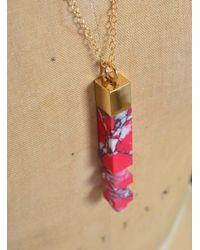 Lily Kamper - Pink & White Speck Column Pendant - Lyst