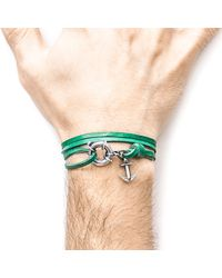 Anchor & Crew - Multicolor Fern Green Clyde Silver And Leather Bracelet for Men - Lyst