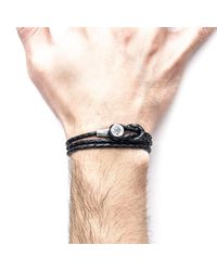 Anchor & Crew - Multicolor Coal Black Dundee Silver And Leather Bracelet for Men - Lyst