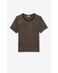 Saint Laurent - Black And Gold Polka Dot Short Sleeve Sheer T-shirt - Lyst