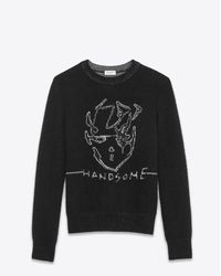 """Saint Laurent - """"handsome"""" Sweater In Black And Silver Mohair And Viscose Jacquard for Men - Lyst"""