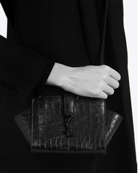 Saint Laurent - Toy Ysl Cabas Bag In Black Crocodile Embossed Leather - Lyst