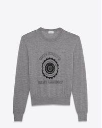 Saint Laurent | Gray Heather Grey Université Sweater for Men | Lyst