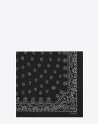 Saint Laurent | Bandana Square Scarf In Black And White Paisley Printed Cashmere And Silk Étamine | Lyst