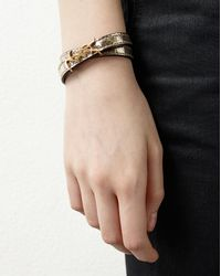 Saint Laurent - Metallic Monogram Double Wrap Bracelet In Cracked Leather And Gold-toned Leather - Lyst