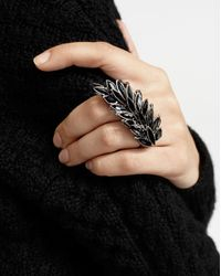 Saint Laurent - Two-finger Ring In Metal And Black Crystals - Lyst