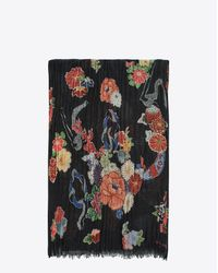 Saint Laurent - Black Love Scarf In Multicolor Floral And Serpent Print - Lyst