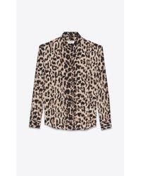 Saint Laurent - Natural Shirt In Beige And Grey Leopard Printed Silk Crêpe - Lyst