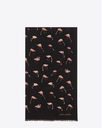 Saint Laurent - Scarf In Black And Pink Flamingo Printed Wool Twill - Lyst