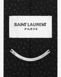Saint Laurent - Tie In Black And Dark Gray Silk Jacquard With Ysl Motif for Men - Lyst