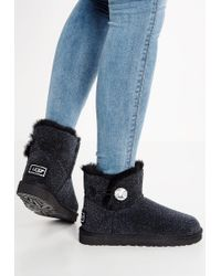 UGG | Black Mini Bailey Button Bling Serein Ankle Boots | Lyst