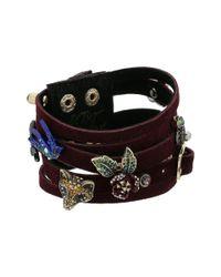 Betsey Johnson - Metallic Burgundy And Gold Multi-row Bracelet (burgundy) Bracelet - Lyst