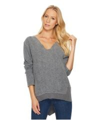 Dylan By True Grit - Gray Brushed Back Vintage Fleece Fuzzy Face V-neck Top With Rib Trim - Lyst