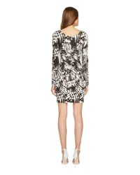 Just Cavalli Wings Of Dove Printed Jersey Long Sleeve Dress (black) Dress