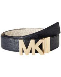 MICHAEL Michael Kors - Multicolor 38mm Reversible Pebble To Logo Belt On Mk Plaque Buckle (navy/chocolate) Women's Belts - Lyst