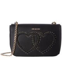 Love Moschino | Black Stitched Heart Shoulder Bag | Lyst