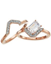 Swarovski - White Gallery Square Ring Set - Lyst