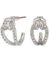 Swarovski - Multicolor Small Lifelong Hoop Pierced Earrings (rhodium Plating/white) Earring - Lyst