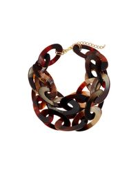 Kenneth Jay Lane | Brown 2 Row Matte Horn With Polished Gold Chain Necklace | Lyst