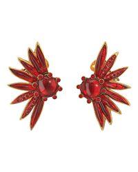 Oscar de la Renta - Multicolor Floral Resin And Pave C Earrings - Lyst