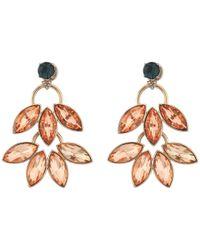 Fossil - Multicolor Double Leaf Stud Earrings - Lyst