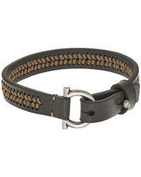 Ferragamo - Gray Stitch Bracelet - Lyst