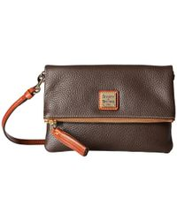 Dooney & Bourke - Brown Pebble Fold-over Zip Crossbody (leaf/tan Trim) Cross Body Handbags - Lyst