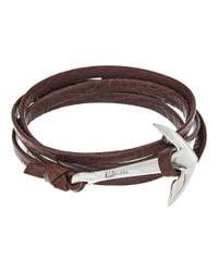 Miansai - Metallic Silver Anchor On Leather Bracelet for Men - Lyst