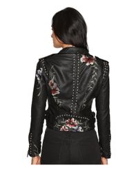Blank NYC - Natural Embroidered Floral Detail Studded Moto Jacket - Lyst