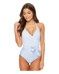 Vince Camuto - Blue Sailor Stripe V-neck Wrap Tie One-piece Swimsuit W/ Removable Soft Cups (lagoon) Women's Swimsuits One Piece - Lyst