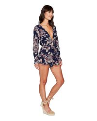 Brigitte Bailey - Blue Reyna Long Sleeve Ruffle Romper With Front Tie - Lyst