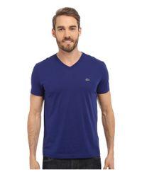 Lacoste | Blue S/s Pima Jersey V-neck T-shirt for Men | Lyst