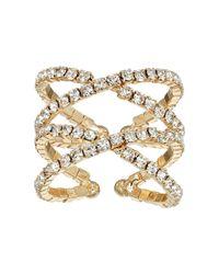 Guess - Metallic Crisscross Pave Ring - Lyst