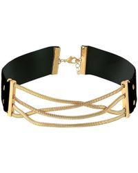 Steve Madden - Metallic Straps Crisscross Snake Chain Choker Necklace - Lyst