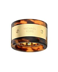 Michael Kors - Metallic Mk Logo Plaque Ring - Lyst
