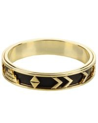 House of Harlow 1960 - Yellow Aztec Bangle With Black Leather - Lyst