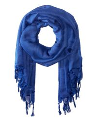 Love Quotes | Blue Linen Tassel Scarf | Lyst