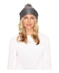 UGG | Gray Quilted Fabric Hat W/ Pom | Lyst