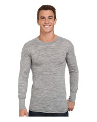 Terramar Gray Merino Wool Long Sleeve Crew for men