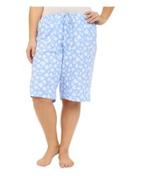 Lauren by Ralph Lauren - Blue Plus Size Knit Notch Collar Bermuda Pajama Set - Lyst
