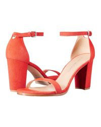 Stuart Weitzman Red Nearly Nude Suede D'Orsay Sandals